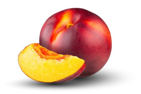 Ripe peach and a slice of peach on a white background. The whole depth of field. Stok Fotoğraf - 132064324