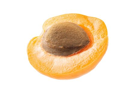 Half apricot with bone isolated on white background. With full depth of field. Stok Fotoğraf - 132064383