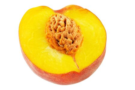 Ripe peach fruit isolated on white background cutout. full depth of field