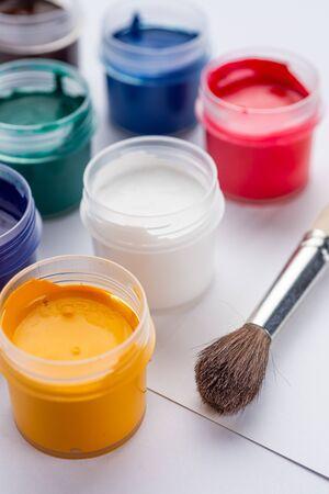 Gouache paint on a white background Stok Fotoğraf