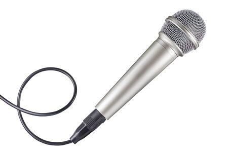 Microphone and cable isolated on white