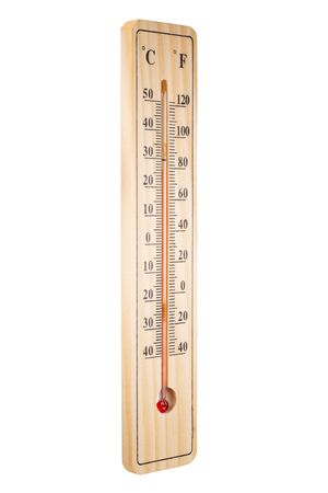 Closeup photo of wooden thermometer on white background..