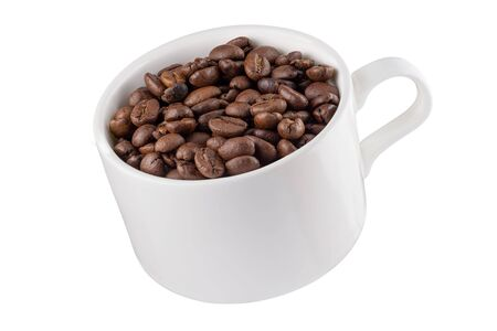 Coffee mug in the air with coffee beans. Full depth of field. Isolated with a pen tool. 写真素材