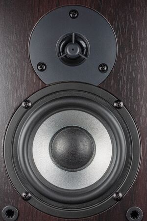 Wooden multimedia system. Audio Speakers... Stock Photo