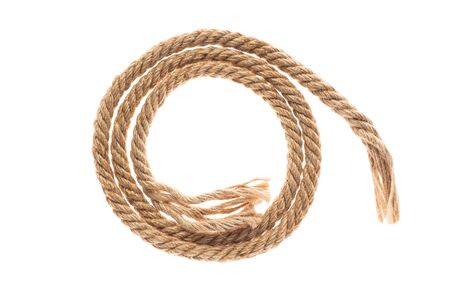 twisted jute rope. Isolated on a white background.