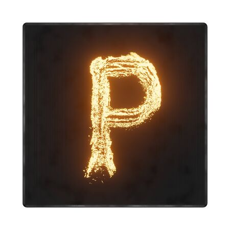 English letter P. The letters in the form of hot metal in a dark box with tecture. 3d render. Banco de Imagens