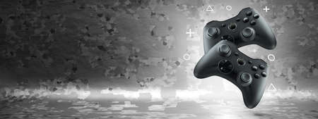 The concept of video games. Two gamepads levitate on an abstract background. Wide banner.