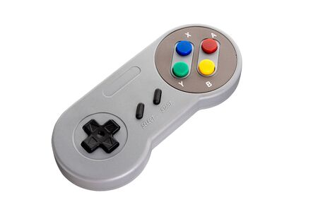 Retro gamepad with buttons isolated on a white background. Full depth of field.