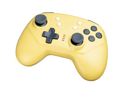 yellow controller for a video game isolated on a white background. Full depth of field. Standard-Bild