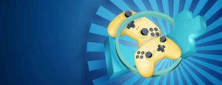 Yellow game controller on abstract blue background with empty place for your design.