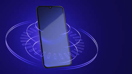 Smartphone on an abstract blue background with lines. Digital world concept. 3d rendering.