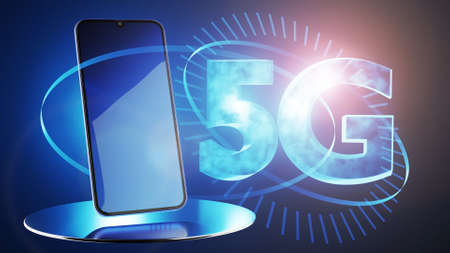 concept of connecting to 5G communication networks. 3d rendering. Standard-Bild