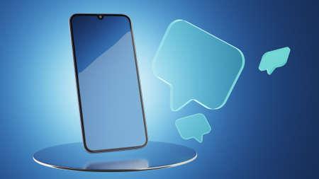 Social media communication concept. Messengers in mobile phones. 3d rendering. Standard-Bild