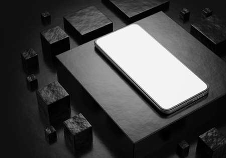 Smartphone mockup on a dark background. Smartphone white screen. 3d render. Standard-Bild