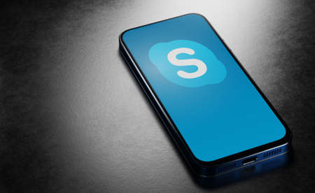 Skype applications for video calling and messaging. Skype application logo on the smartphone screen. Russia, Chuvash Republic, Cheboksary. 08/31/2020, 3d rendered