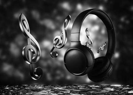 Wireless black headphones on a dark background. Listening to music with headphones. High quality sound. Standard-Bild