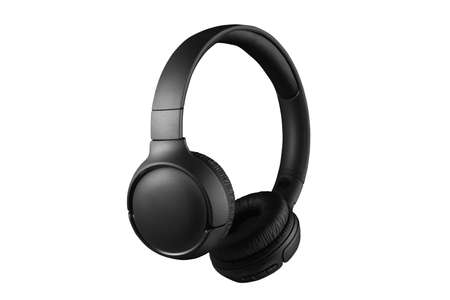 Black headphones isolated on white background. Full depth of field. Listening to music with headphones. High quality sound. Standard-Bild
