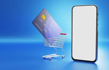 Online shopping concept. Contactless payment. Online payment for goods. 3D rendered. Standard-Bild