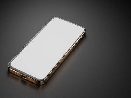 Mockup of a smartphone with a golden body on a dark background. Smartphone white screen. 3D rendering. Standard-Bild