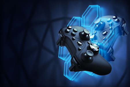 Futuristic games. Video games concept. The gamepad controls the flying robot of their video game. Blockchain games.