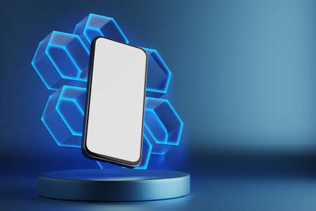 Smartphone with a white screen. Smartphone on the background of cells. Place for your design. Product podium. Template for infographics or presentation UI design interface. Smartphone on blue background. 3D rendered.