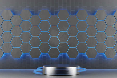 Pedestal for display, Platform for design, Blank product stand. 3D rendering.