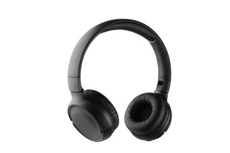 Black wireless headphones isolated on white background. Full depth of field.