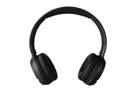 Black wireless headphones front view isolated on white background. Full depth of field.