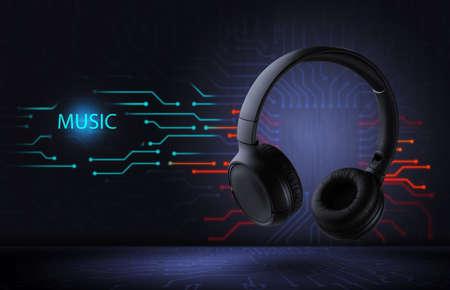 Electronic music. Wireless black headphones on a futuristic background. ... High quality sound. Standard-Bild
