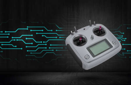 Hobby, radio remote controler. Radio transmitter for controlling model airplanes and quadcopters. rc transmitter. Remote control of the quadcopter.