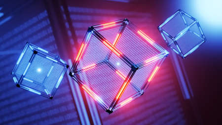 The concept of blockchain technology. Technological abstract cube with data. Digital background.