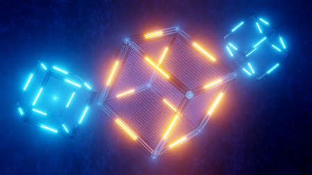 SCI-FI. Concept of blockchain technology. Technological abstract cube with data. Digital background. 3D rendered.