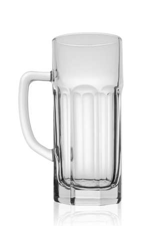 Empty beer glass with edges. Isolated over white background. clipping path.