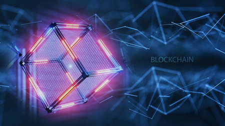 Blockchain technology network structure. Neural networks, machine learning. blockchain explained. What is blockchain? The complete guide Standard-Bild