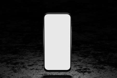 Smartphone with white and screen on a dark stone background for your design. Smartphone mockup on a dark background. Mockup for your application or website. 3d render.