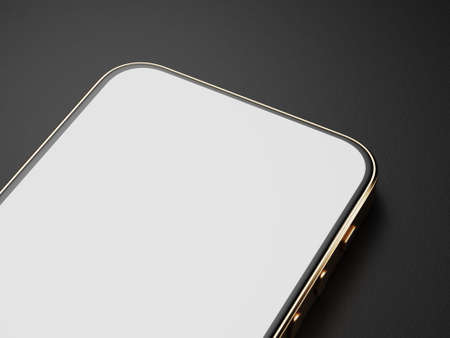 A smartphone with a golden body is on the table. Part of the smartphone screen. Smartphone mockup on a dark background. Mockup for your application or website. 3d render.