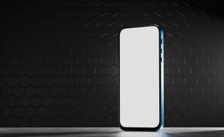 Smartphone with a blue body on a futuristic background. Smartphone mockup with white screen. Mockup for your application or website. 3d render. Standard-Bild