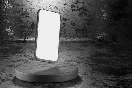 Smartphone with white and screen for your design. Smartphone mockup on a dark background. 3d render.