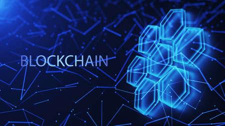 Data blocks, mesh structure of the database. Blockchain technology concept. Digital background. 3d render. Standard-Bild