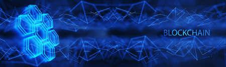 Wide banner for your design. Data cells on a blue background. Distributed blockchain technology concept. Digital background. 3d render. Standard-Bild