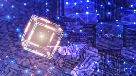 Blockchain tenology concept. A chip for mining cryptocurrency. Technological abstract cube with data. Digital background. 3d render. Standard-Bild