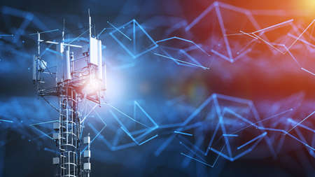 4G and 5G cellular telecommunication tower. Telecommunication equipment for a 5G radio network with radio modules and smart antennas installed on a metal structure against an abstract background in the form of a network.