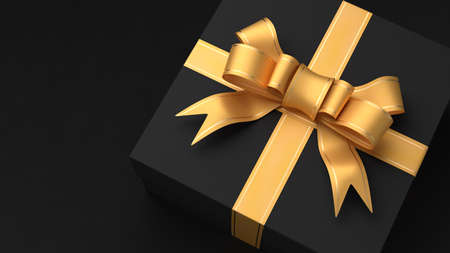 Black gift box with a yellow ribbon. Black Friday. Valentine's Day. 3d render.