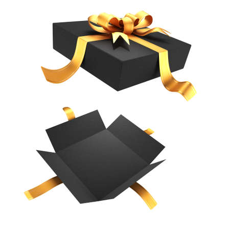 Open gift box for your design isolated on white background. Gold-colored ribbon with a bow on the lid. 3D rendering.