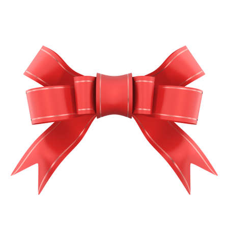 Red satin gift bow. Ribbon. Isolated on white. 3d rendered