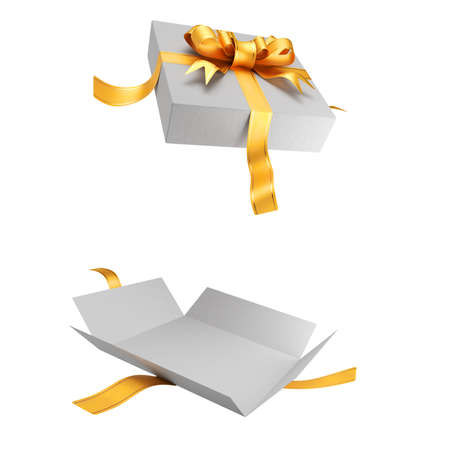 Open white gift box for your design isolated on white background. Gold ribbon with a bow on the lid. 3D rendering.