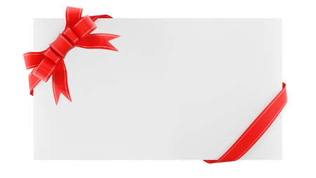 Blank envelope with gift ribbon. Congratulation note. Isolated on white background. 3d render. Standard-Bild
