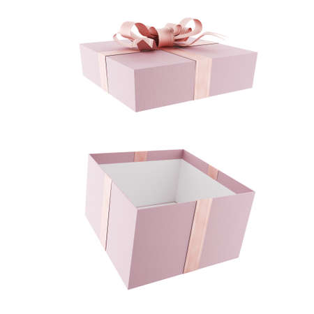 Open pink gift box with pink bow and ribbons. 3d render.