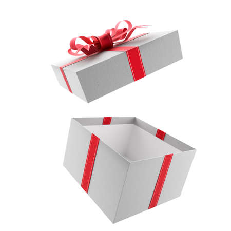 Open white gift box with red bow and ribbons. 3d render.