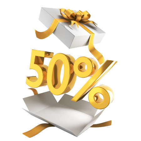 Gift discounts. Discount in a white gift box with gold symbols and ribbon. Holiday Sale Banner sign in department store, 50% OFF Special Offer Ad. Discount Promotion Banner.Price Discount Offer. 3d rendered